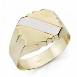 Sello oro 9k bicolor caballero banda hueco [AA7505]