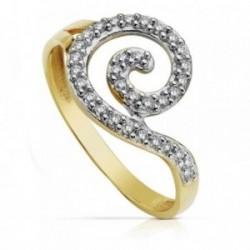Sortija oro 9k bicolor circonitas espiral [AA7510]