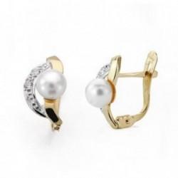 Pendientes oro 9k 12mm. perla circonitas comunión [AA7518]