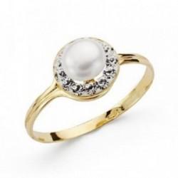 Sortija oro 9k centro perla circonitas orla redonda comunión [AA7524]