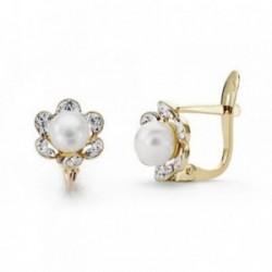 Pendientes oro 9k flor centro perla circonitas 8mm. comunión [AA7525]