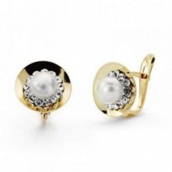 Pendientes oro 9k centro perla circonitas 10mm. comunión [AA7527]