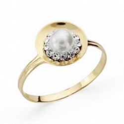 Sortija oro 9k centro perla circonitas redonda comunión [AA7528]