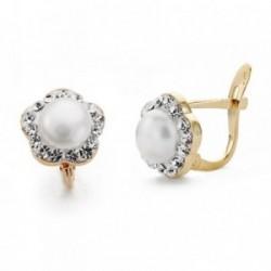 Pendientes oro 9k flor centro perla circonitas 9mm. comunión [AA7529]