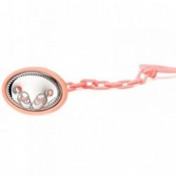 Pinza chupete bebé laminado plata Ley patucos rosa 51mm. [AA7539]