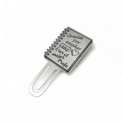 Marcapáginas marcador de libros plata ley 925m 60mm. GRACIAS [AA9312]