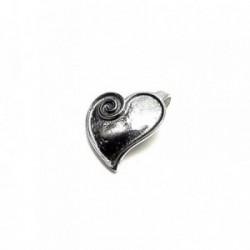 Colgante plata ley 925m 20mm. oxidado corazón liso [AA7707]
