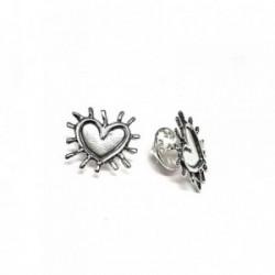Pin plata ley 925m oxidado 17mm. liso corazón espinas [AA7714]