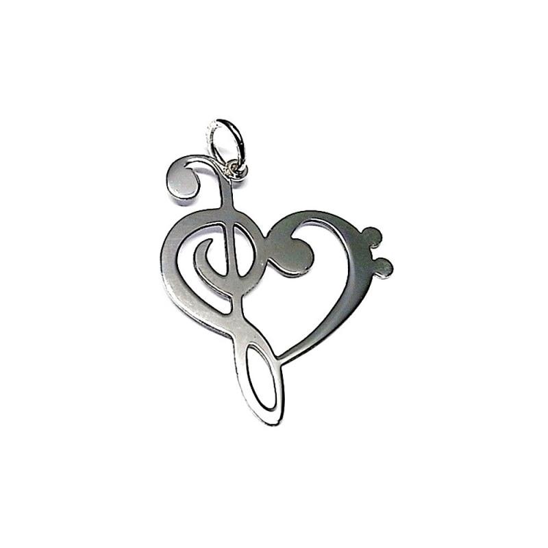 b80026e1a94d Colgante plata ley 925m liso 35mm. corazón clave sol [AA7792]