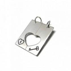 Colgante plata ley 925m 25mm. chapa corazón llave partido [AA7803]