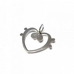 Colgante plata ley 925m 25mm. clave FA corazón [AA7816]