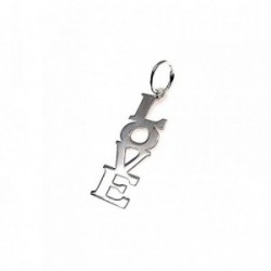 Colgante plata ley 925m 27mm. letras LOVE fabricación láser [AA7864]