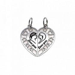 Colgante plata ley 925m 25mm. corazón partido hombre mujer [AA7868]