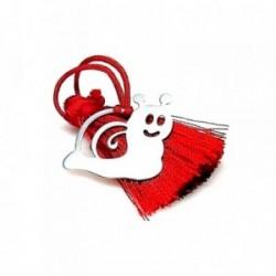Marcapáginas plata ley 925m 25mm. caracol pompón rojo [AA7906]