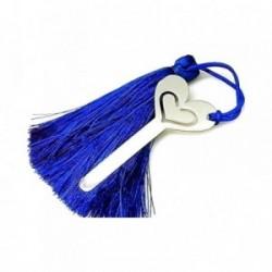 Marcapáginas plata ley 925m 55mm. corazón pompón azul [AA7912]
