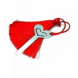 Marcapáginas plata ley 925m 55mm. corazón pompón rojo [AA7913]