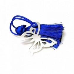 Marcapáginas plata ley 925m 30mm. mariposa pompón azul [AA7914]