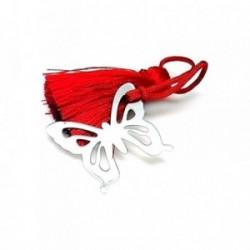 Marcapáginas plata ley 925m 30mm. mariposa pompón rojo [AA7915]