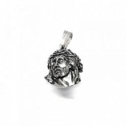 Cabeza rostro Cristo plata ley 925m 19mm. colgante [AA8011]