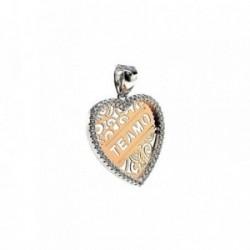 Colgante plata ley 925m 20mm. circonitas corazón TE AMO [AA8120]
