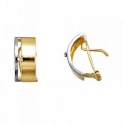 Pendientes oro 18k bicolor medio aro circonita [AA4993]