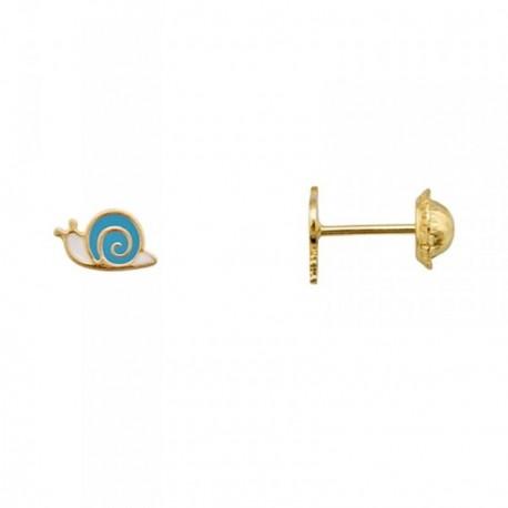 Pendientes oro 18k caracol esmaltado azul [AA5008]