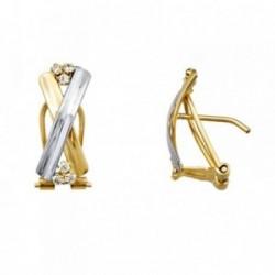 Pendientes oro 18k bicolor bandas cruzadas circonitas [AA5086]
