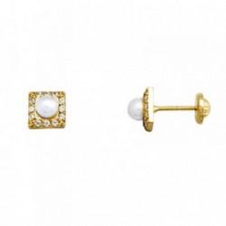 Pendientes oro 18k perla 3.5mm. cultivada circonitas [AA5103]