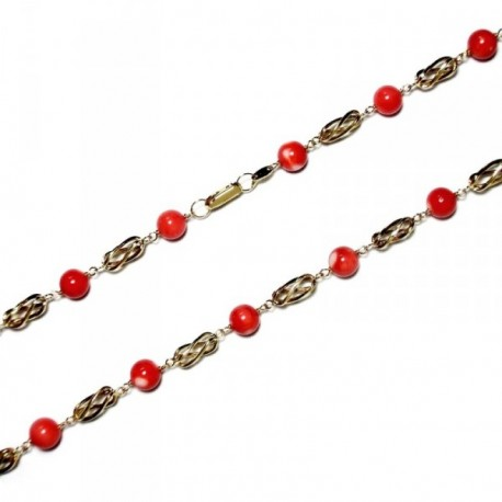 Gargantilla collar oro 18K jaulas coral fino japonés 7mm.  [AA9590]