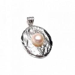 Colgante plata ley 925m 33mm. perla botón imitación [AA8210]