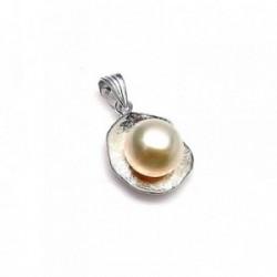 Colgante plata ley 925m 20mm. perla botón imitación [AA8211]