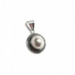 Colgante plata ley 925m 20mm. redondo greca perla imitación [AA8222]