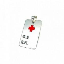 Colgante plata ley 925m 20mm chapa G.S R.H cruz roja GRABACI/ÓN INCLUIDA EN EL PRECIO AA8308GR - Personalizable