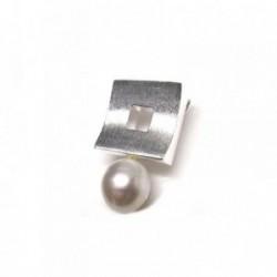 Colgante plata ley 925m 30mm. cuadrado perla imitación [AA8433]
