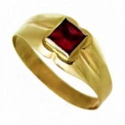 Sello oro 18K bebé piedra cuadrada roja brillos rosas [AA9806]