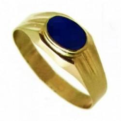 Sello oro 18K bebé labrado piedra ovalada azul oscuro [AA9807]