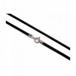 Cordón caucho terminaciones plata ley 925m 40cm. 2mm. [AA9653]