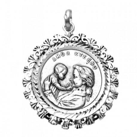 Medalla plata ley 925m Virgen Madre 36mm. redonda cerco [AA9810GR]