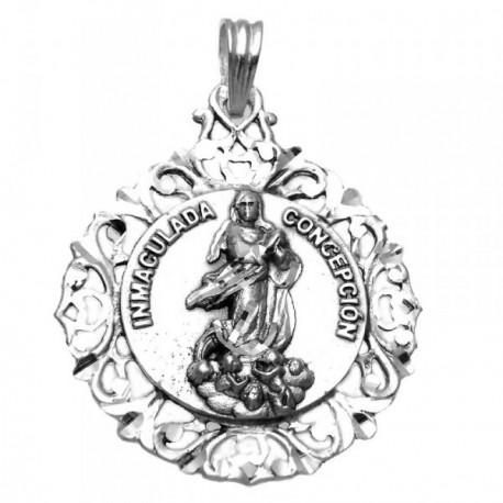Medalla plata ley 925m Virgen Inmaculada 45mm. busto cerco [AA9812GR]