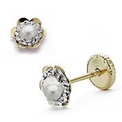 Pendientes oro 18k flor circonitas 6mm. zafiro perla piedra fina [8018]