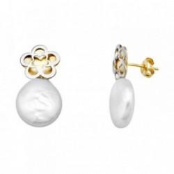 Pendientes oro 18k bicolor perla coin 11mm. flor  [AA5278]