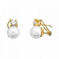 Pendientes oro 18k perla shell 10mm. circonita [AA5331]