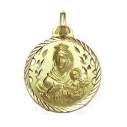 Medalla oro 18k Virgen del Carmen calada filo labrado [591]