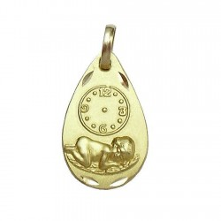 Medalla oro 18k nino Jesús esfera horaria bebé [593]