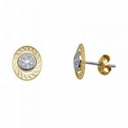 Pendientes oro 18k bicolor oval greca circonitas [AA5524]