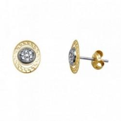 Pendientes oro 18k bicolor oval greca circonitas [AA5525]