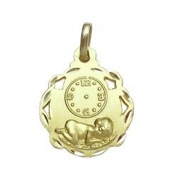 Medalla oro 18K nino Jesús calada esfera horaria [594]