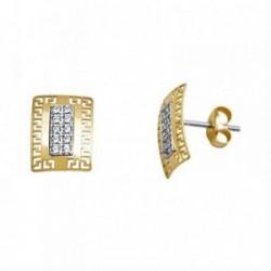 Pendientes oro 18k bicolor rectángulo greca circonitas [AA5556]