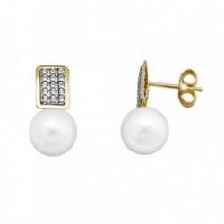 Pendientes oro 18k perla 8.5mm. rectángulo circonitas [AA5558]