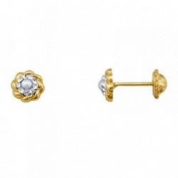 Pendientes oro 18k borde reliado 5.5mm. perla circonitas [AA5588]